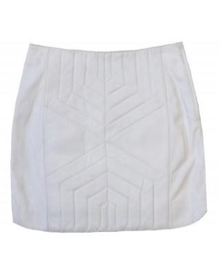 Optic White Geometric Midi Skirt
