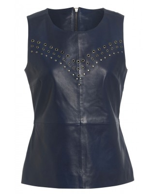 EYELET VEST IN BLUE INDIGO