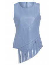 LADIES VEST in CASHMERE BLUE WITH MATCHING FRINGING TRIM TO FRONT AND BACK