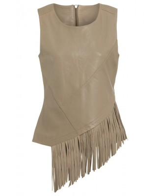LADIES VEST in GOAT BROWN WITH MATCHING FRINGING TRIM TO FRONT AND BACK