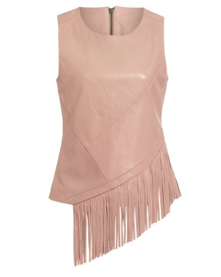 LADIES VEST in PALE BLUSH WITH MATCHING FRINGING TRIM TO FRONT AND BACK