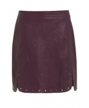 EYELET SKIRT FROM OF THE REALM IN DUSKY ORCHID LEATHER