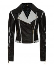 Mono Chrome Quilted Biker Jacket