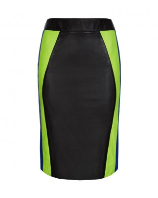 Neon Yellow and Blue Contoured Panelled Skirt