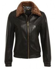 FUR COLLAR BOMBER IN BLACK