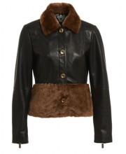 SHORT BUTTON JACKET IN BLACK WITH SHEEPSKIN TRIMS