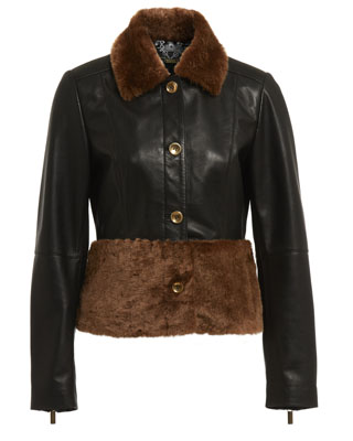KATIE JACKET IN BLACK WITH SHEEPSKIN TRIMS