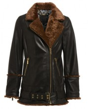 OVERSIZED SHEEPSKIN FUR BIKER IN BLACK