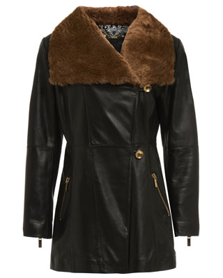 FIT AND FLARE COAT WITH SHEEPSKIN COLLAR IN BLACK
