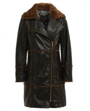 SHEEPSKIN FUR AND LEATHER COAT IN BLACK LEATHER