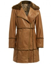 SHEEPSKIN FUR AND LEATHER COAT IN CAMEL LEATHER