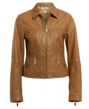 SHORT ZIP FRONT JACKET IN CAMEL