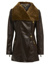 FIT AND FLARE COAT WITH SHEEPSKIN COLLAR IN SEAL BROWN