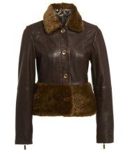 SHORT BUTTON JACKET IN SEAL BROWN WITH SHEEPSKIN TRIMS