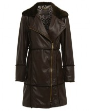 BELLA COAT IN SEAL BROWN LEATHER