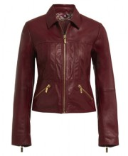 SHORT ZIP FRONT JACKET IN OXBLOOD RED
