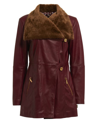 FIT AND FLARE COAT WITH SHEEPSKIN COLLAR IN OXBLOOD RED