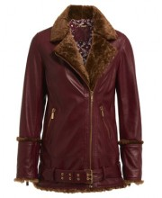 OVERSIZED SHEEPSKIN FUR BIKER IN OXBLOOD RED