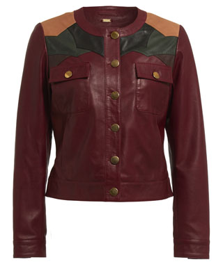 CONTRAST PANEL JACKET IN OXBLOOD RED