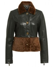 KATIE BUTTON JACKET IN SCARAB GREEN WITH SHEEPSKIN TRIMS