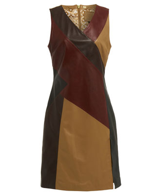 MULTI PANEL DRESS IN CAMEL
