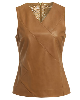 SOLID PANEL SLEEVELESS TOP IN CAMEL