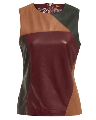 MULTI PANEL SLEEVELESS TOP IN OXBLOOD RED