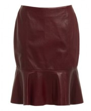 CIRCLE PANEL SKIRT IN OXBLOOD RED
