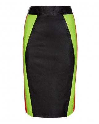 Neon Yellow and Orange Contoured Panelled Skirt