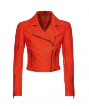 Neon Orange Quilted Biker Jacket