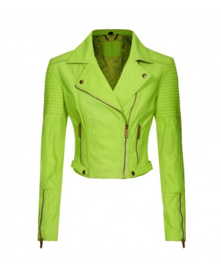 Neon Yellow Quilted Biker Jacket