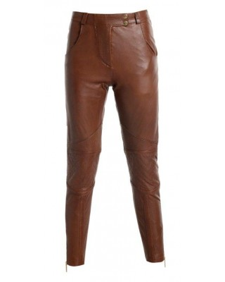 Coconut Brown Biker Trousers