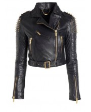 Black Cab Spike Stud Biker Jacket