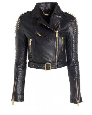Black Cab Spike Stud Biker Jacket
