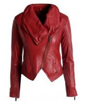 Brick Red Cowl Neck Jacket