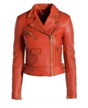 Tangerine Tango Under Arm Zip Biker Jacket