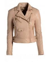 Dusty Pink Under Arm Zip Biker Jacket