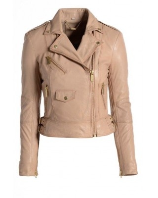 Dusty Pink Under Arm Zip Biker Jacket
