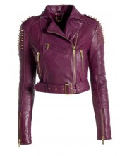Purple Spike Stud Biker Jacket