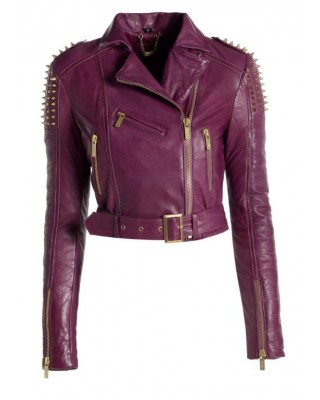 Purple Spike Stud Biker Jacket