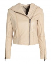 Cream Puff Draped Hooded Bomber Jacket