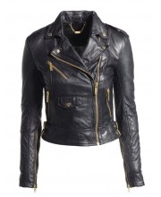 Black Cab Under Arm Zip Biker Jacket