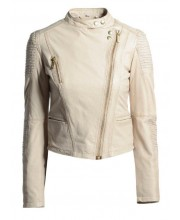 Cream Puff Stand Collar Biker Jacket