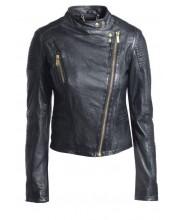 Black Cab Stand Collar Biker Jacket