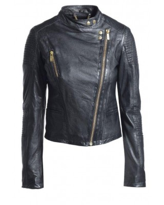 Black Cab Stand Collar Biker Jacket
